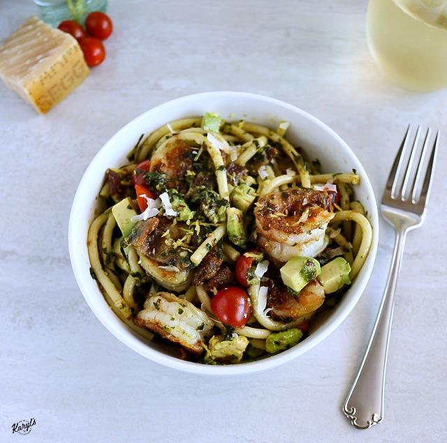 Blackened Shrimp Pesto Pasta Salad - Karyl's Kulinary Krusade