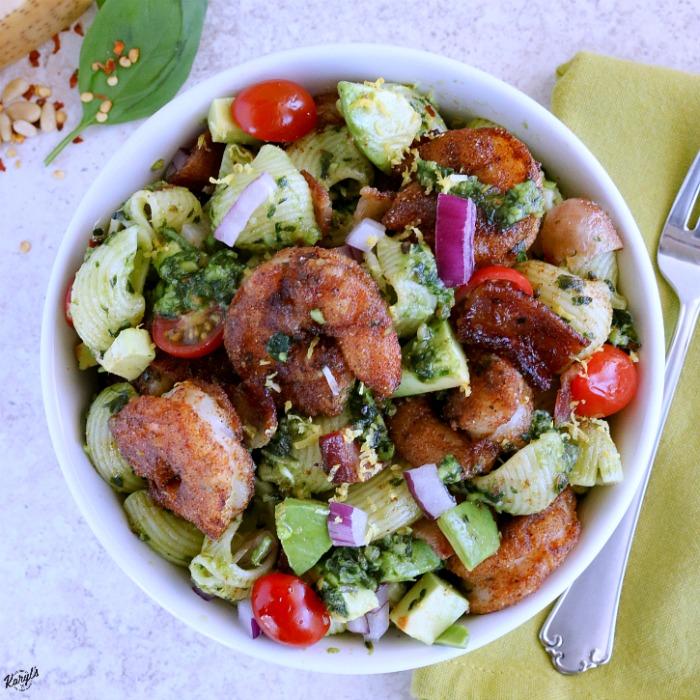 Blackened Shrimp Pesto Pasta Salad