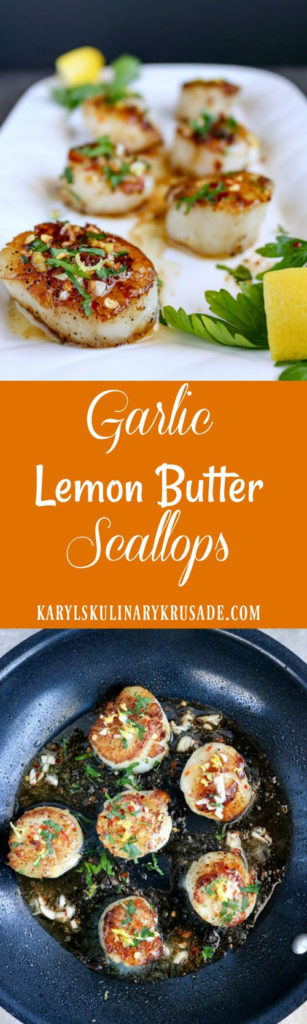 Garlic Lemon Butter Scallops. The butter creates the beautiful golden brown sear, the garlic and lemon add so much flavor, and the parsley and lemon zest are the perfect finishing touch. Eat them as an appetizer, or a light meal, these beauties will become your favorite. #seafood #scallops #garlic #butter #lemon #garliclemonbutterscallops #glutenfree #paleo #summer #summerliving #karylskulinarykrusade