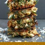 close up shot of 4 Kale & Quinoa Patties stacked on top of each other