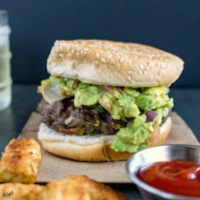 Venison Cheeseburger with Jalapeno and Guacamole