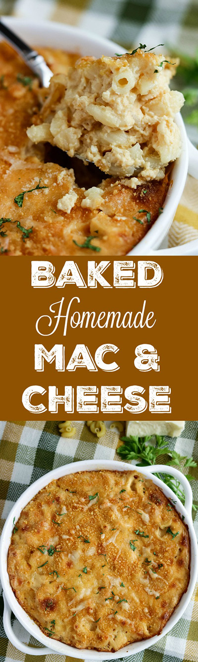 Baked Homemade Mac and Cheese...it's the definition of comfort food! Elbow macaroni and a creamy cheese sauce are baked to golden perfection. Your family will request this dish over and over again #macaroni #cheese #cheesesauce #casserole #cheddarcheese #macandcheese #macaroniandcheese #comfortfood #karylskulinarykrusade