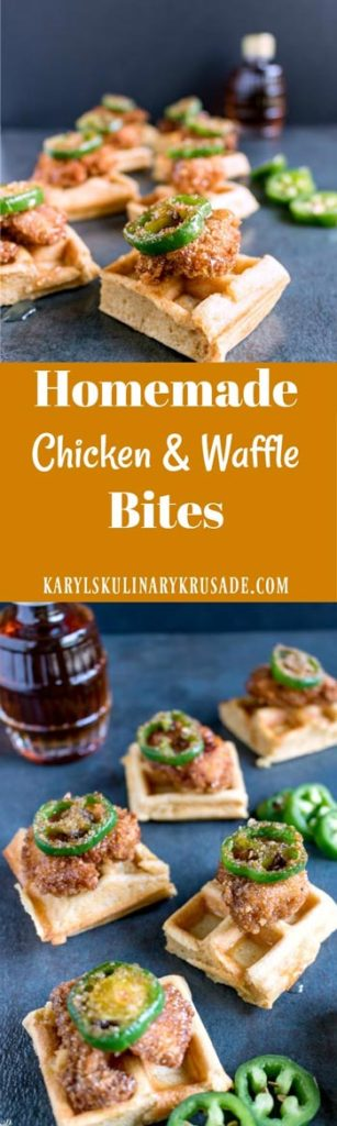 Homemade Chicken and Waffle Bites. Spicy, sweet, and delicious. The fluffy waffles work so well with the crispy chicken, and the sweet drizzle of honey at the end can't be beat. #chicken #waffles #honey #buttermilk #panfried #appetizer #fingerfood #partyfood #gamedayfood #karylskulinarykrusade