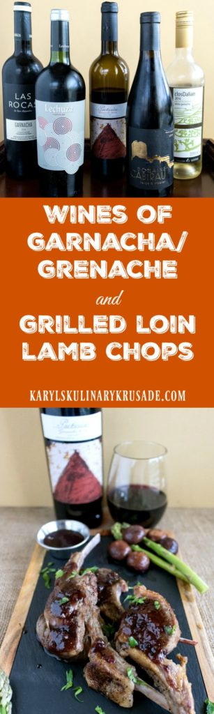 #Ad Wines of Garnacha/Grenache and Grilled Loin Lamb Chops. If you've never tried the Wines of Garnacha/Grenache, you are missing out! These wines pair well with almost every food, and are delicious to drink all by themselves. Try them all, you will love them #wine #cookingwithwine #lamb #lambchops #grilling #onthegrill #karylskulinarykrusade