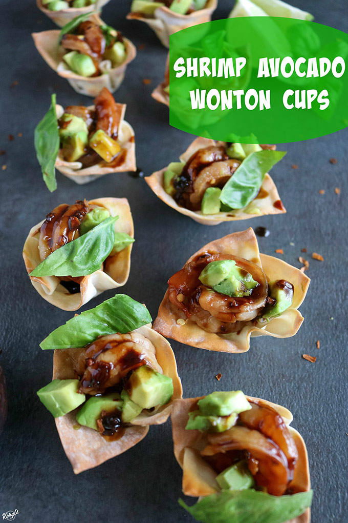 overhead shot of finished wonton cups on a black board