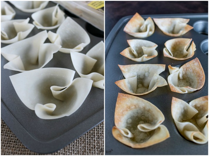 Process shots: raw wonton wrappers in muffin pan on the left; baked wrappers in wonton wrappers on right