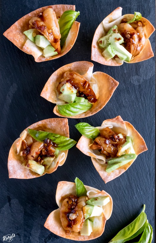 Spicy Garlic Soy Shrimp and Avocado Wonton Cups - Karyl's Kulinary Krusade