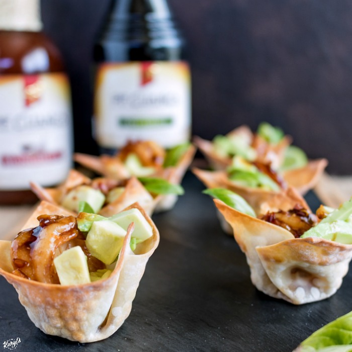 Spicy Garlic Soy Shrimp and Avocado Wonton Cups