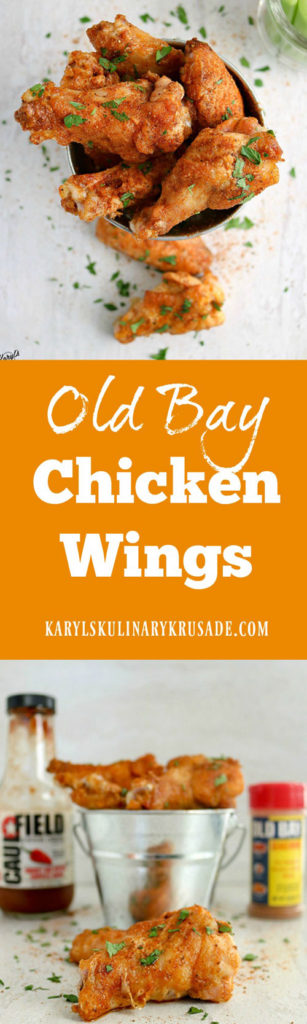 Old Bay Chicken Wings are a fabulous way to bring a little bit of Maryland into your life. The delicious blend of seasonings, plus an extra kick of heat from hot sauce, will wake up your taste buds! #chickenwings #bakedwings #oldbayseasoning #oldbay #appetizer #gamedayfood #tailgatefood #partyfood #karylskulinarykrusade