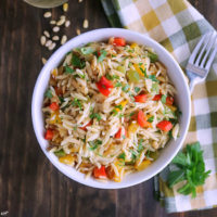 Orzo with Onions, Garlic and Peppers