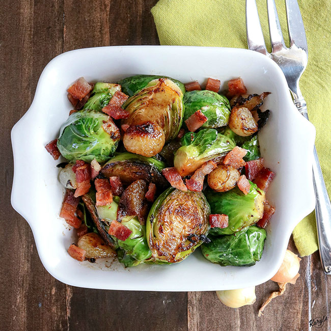 Skillet Brussel Sprouts Bacon and Onions