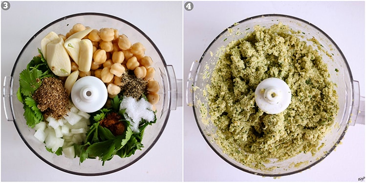 process pictures: all Falafel ingredients in food processor on left; Falafel mixture ground fine on right