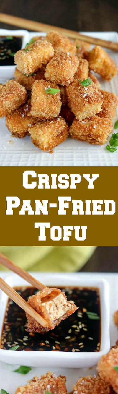 Crispy Pan Fried Tofu has a golden, crunchy exterior, and soft inside. Combine these beauties in the bold and spicy sauce for a wonderful snack or appetizer. You'll want to eat these straight out of the skillet! #tofu #extrafirmtofu #friedtofu #crispytofu #vegetarian #appetizer #fingerfood #karylskulinarykrusade