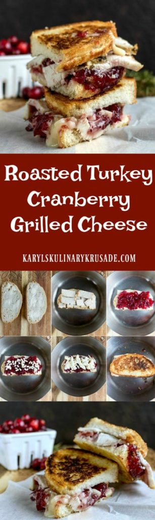 Roasted Turkey Cranberry Grilled Cheese is a delicious way to use up holiday leftovers. Turkey, cranberry sauce, and melted cheese combine for a mouthwatering bite #turkey #cheese #cranberries #grilledcheese #leftovers #karylskulinarykrusade