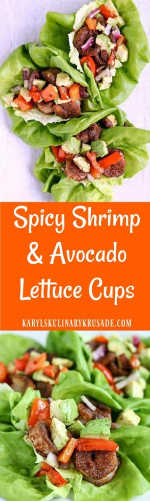 Spicy Shrimp and Avocado Lettuce Cups - Karyl's Kulinary Krusade