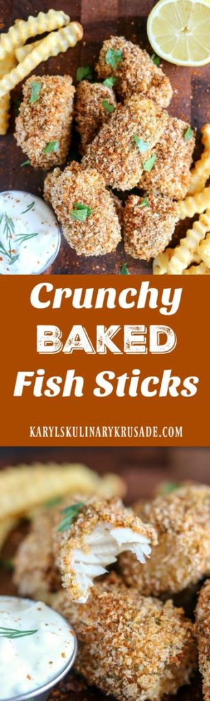 Crunchy Baked Fish Sticks. These aren't the fish sticks you ate as a kid! Healthy, baked, light and super crunchy, these will definitely be a family favorite #fish #cod #seafood #pescatarian #baked #bakedfishsticks #healthy #oldbayseasoning #crunchybakedfishsticks #karylskulinarykrusade