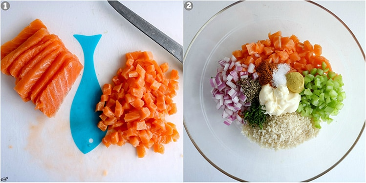 process pics - cut salmon on left; all ingredients in bowl on right