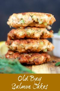 finished Old Bay Salmon Cakes, stacked on top of each other