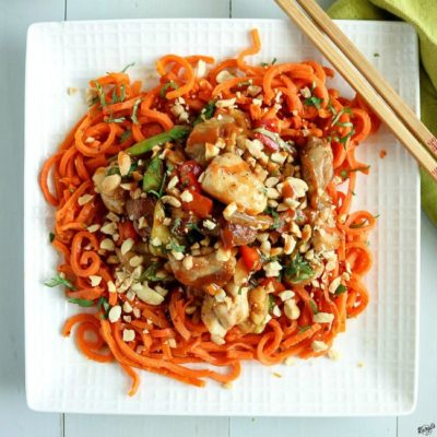 Thai Peanut Chicken with Carrot Spirals - Karyl's Kulinary Krusade