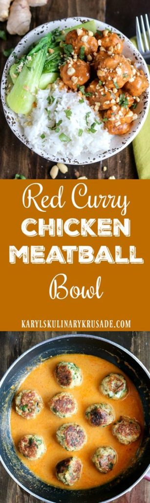 Red Curry Chicken Meatball Bowl is a bold and flavorful dish. The spicy red curry sauce adds a luxurious finish to the baked chicken meatballs. Serve as a bowl with rice and veggies, or on its own as a snack #chicken #spicy #curry #redcurry #peanutbutter #peanuts #baked #meatballs #bakedmeatballs #redcurrychickenmeatballbowl #chickenbowl #chickenmeatballbowl #karylskulinarykrusade