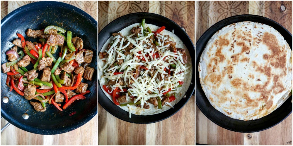 process shots: steak, peppers & onions in skillet on left; tortilla, steak/peppers and cheese in skillet in middle; whole quesadilla on right