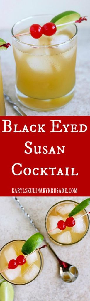 The Black Eyed Susan Cocktail is the official drink of the Preakness Stakes, the 2nd leg of the Triple Crown. With a wonderful mix of fruit juice, rum and vodka, you'll be making these all year long! #21+ #adultbeverage #cocktail #fruitycocktail #blackeyedsusan #blackeyedsusancocktail #Preakness #officialPreaknessdrink #rum #vodka #orangeliqueur #orangejuice #pineapplejuice #karylskulinarykrusade