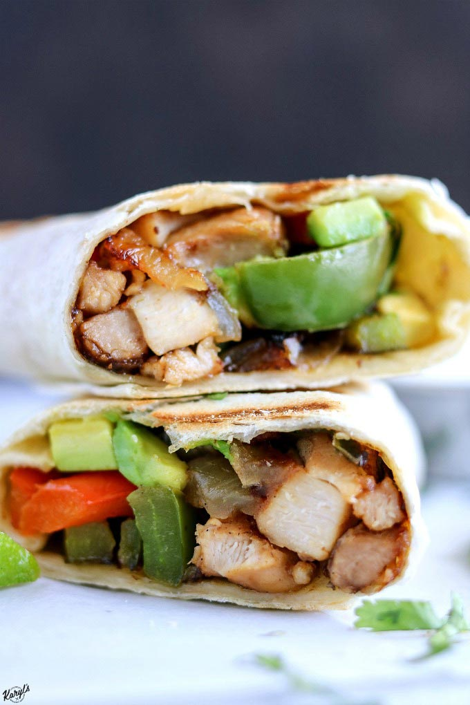 Finished chicken fajita wrap cut in half and stacked