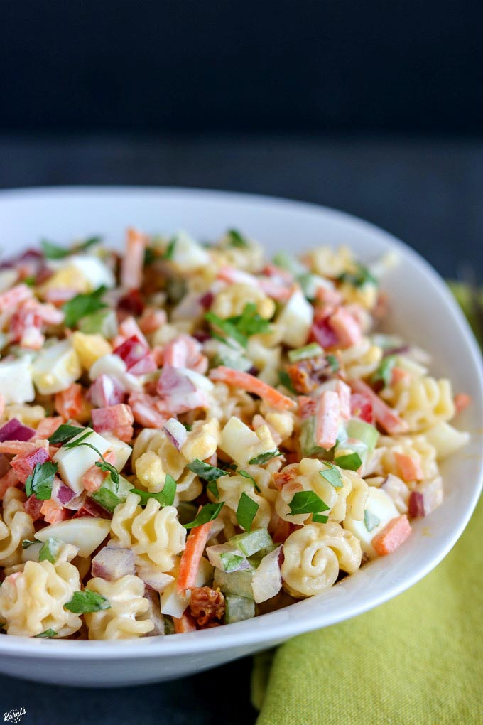 Funfetti Macaroni Salad is a classic pasta salad that's perfect for entertaining! Delicious served immediately, and gets even better as it rests #pasta #pastasalad #funfettimacaronisalad #sidedish #sides #entertaining #summerentertaining #macaronisalad #karylskulinarykrusade