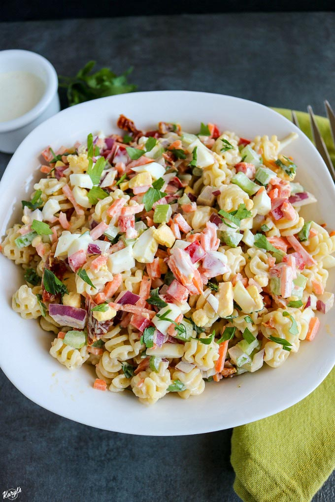 Funfetti Macaroni Salad is a classic pasta salad that's perfect for entertaining! Gets even better as it rests, so make it a day ahead #pasta #pastasalad #funfettimacaronisalad #sidedish #sides #entertaining #summerentertaining #macaronisalad #karylskulinarykrusade