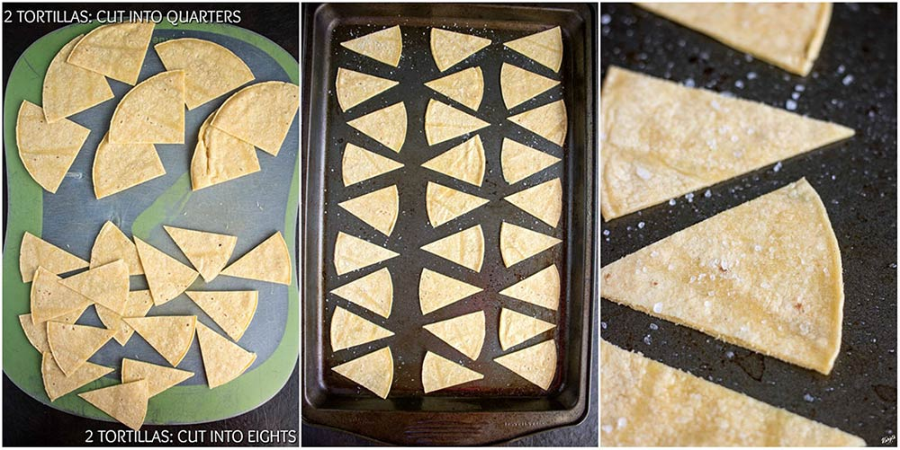 overhead process shot of stages of cutting tortilla chips