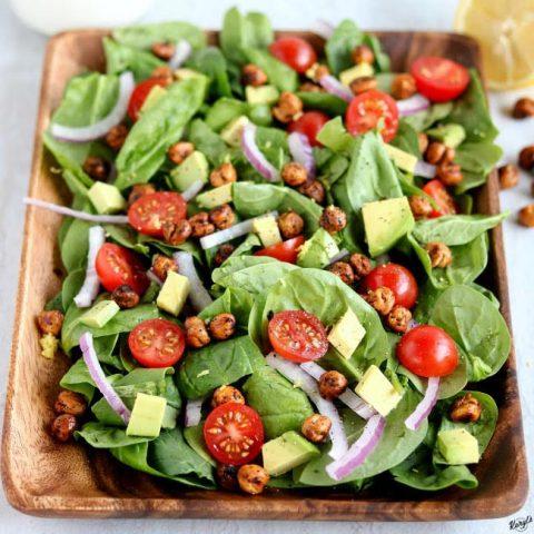 Roasted Chickpea Spinach Salad - Karyl's Kulinary Krusade