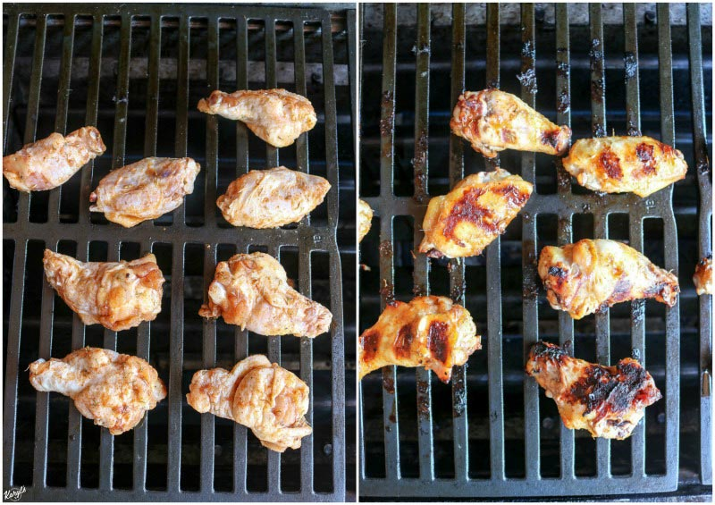 Grilled Honey Bourbon Chicken Wings are sweet and a little spicy, with a mellow bourbon flavor that's hard to beat. Reduce the marinade and baste the wings, and get ready to lick your fingers after every bite #chicken #chickenwings #marinatedwings #cookingwithalcohol #cookingwithbourbon #grilledwings #karylskulinarykrusade