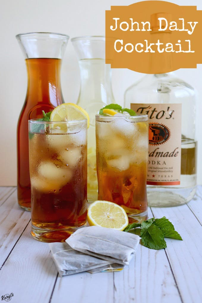 The John Daly Cocktail is an Arnold Palmer with an adult kick! Use fresh lemonade, home-brewed sweet tea and your favorite vodka for this delicious and refreshing drink #21+ #adultbeverage #lemonade #sweettea #arnoldpalmer #johndalycocktail #karylskulinarykrusade
