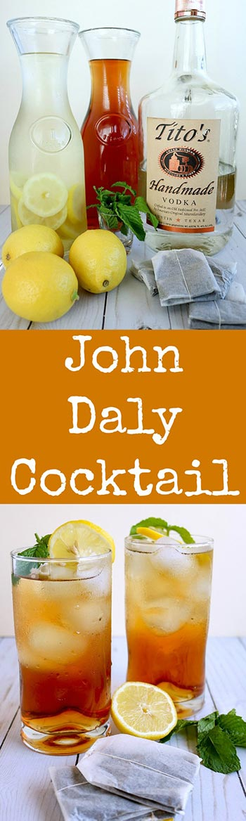 The John Daly Cocktail is an Arnold Palmer with an adult kick! Use fresh lemonade, home-brewed sweet tea and your favorite vodka for this delicious and refreshing drink #21+ #adultbeverage #cocktail #lemonade #sweettea #icedtea #arnoldpalmer #johndalycocktail #karylskulinarykrusade