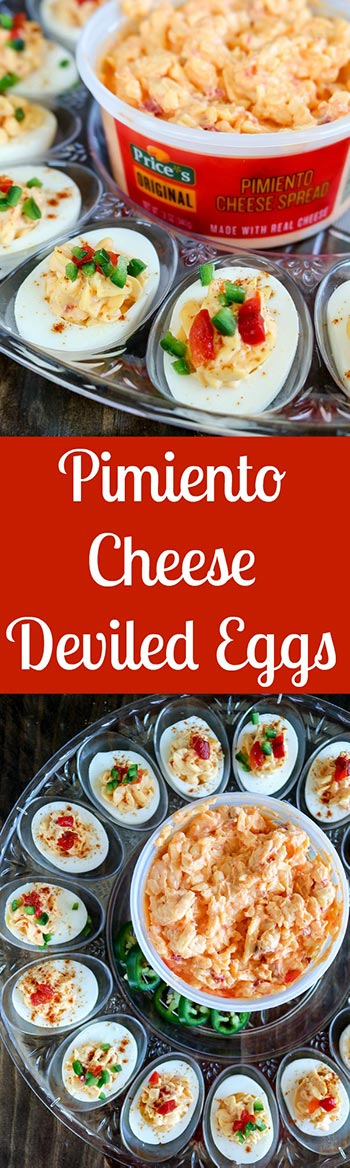 Pimiento Cheese Deviled Eggs will become your new favorite summer party snack! Sweet, tangy and mild Price*s Pimiento Cheese Spread adds a wonderful new flavor dimension to the traditional deviled egg. Finish with diced pimiento peppers plus diced jalapenos for a delicious kick #Ad #pricestradition #pimientiocheesespread #pimientocheese #summerentertaining #deviledeggs