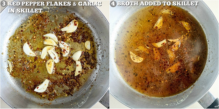 process shots: red pepper flakes & garlic on left; shrimp stock added on right