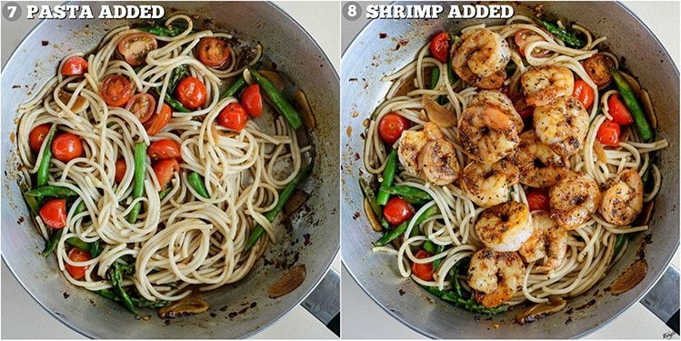 process shots: pasta added on left; shrimp added back on right