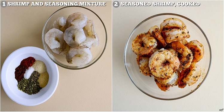 process shots: raw shrimp and seasoning on left; cooked shrimp on right