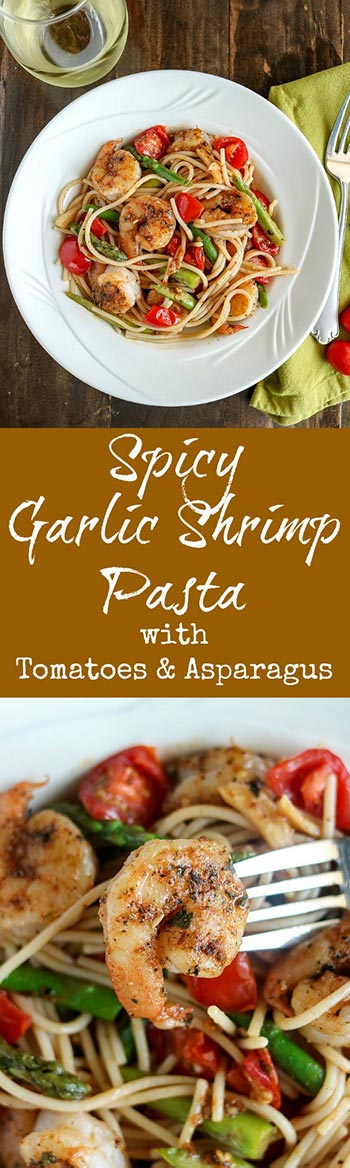Spicy Garlic Shrimp Pasta with Tomatoes & Asparagus is bursting with bold flavors. Homemade shrimp stock is the key to the sauce, combined with tender-crisp asparagus and fresh tomatoes. The stock is simple to make, and will take the sauce to amazing new levels #seafood #shrimp #quinoapasta #asparagus #tomatoes #shrimpstock #glutenfree #karylskulinarykrusade