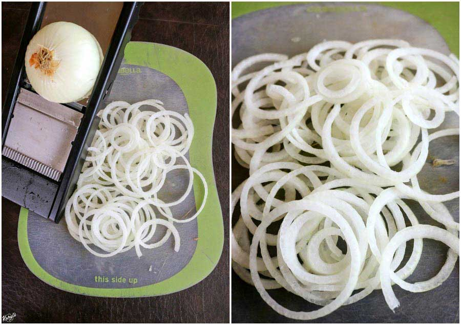 process shots: LEFT: half onion on mandoline, rest of onion sliced on green cutting board; RIGHT: shot of sliced onions