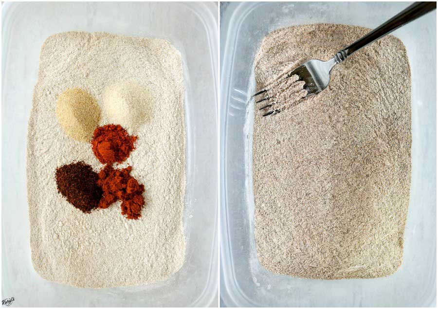 Process shots: LEFT: flour and seasonings in container; RIGHT: flour mixture combined in container