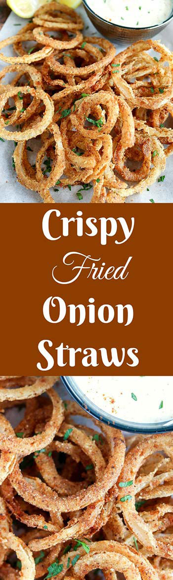 Crispy Fried Onion Straws are crispy, crunchy deliciousness in every bite! Seasoned, thin-sliced onions are pan fried to golden perfection. These are perfect as a snack, side, or top your favorite burger! #onions #onionstraws #onionrings #panfried #appetizer #snackfood #karylskulinarykrusade