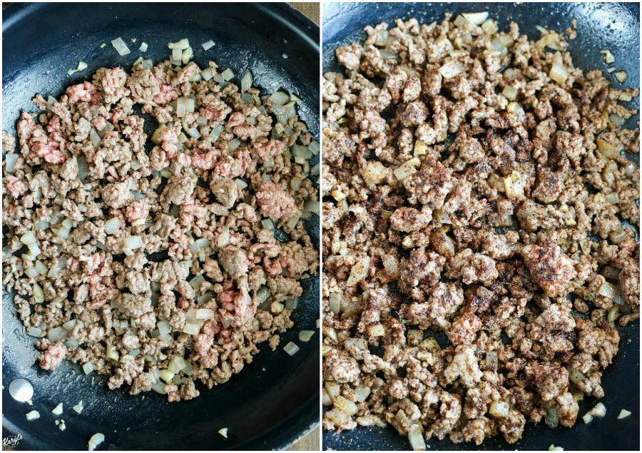 overhead process shots: beef with onions and garlic on left; taco seasoning added to mixture on right