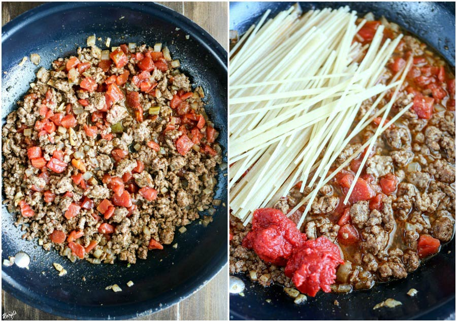 overhead process shots: Rotel combined into mixture on left; tomato paste and pasta added on the right