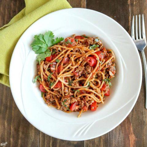 One Pot Taco Spaghetti - Karyl's Kulinary Krusade