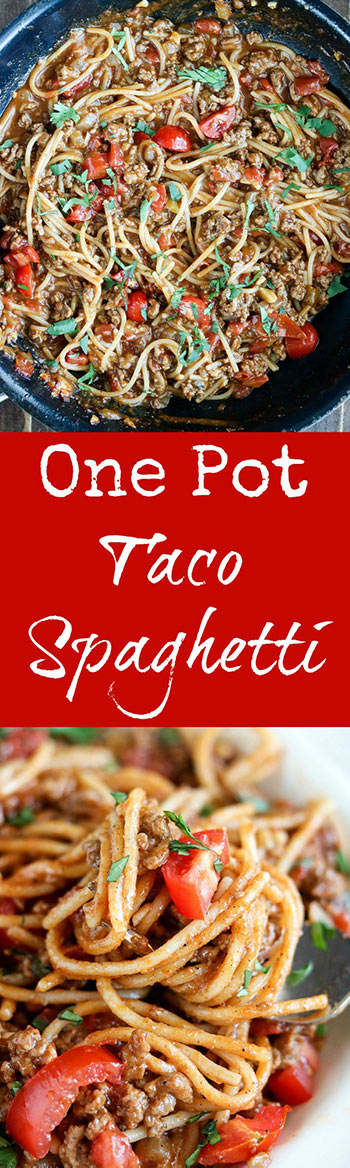 One Pot Taco Spaghetti is all the flavors you love of tacos, with a delicious twist. The spaghetti soaks up every bit of sauce while cooking. Delicious on its own, or finished with your favorite taco toppings #groundbeef #tacoseasoning #quinoapastaspaghetti #tomatoes #tacospaghetti #onepotmeal #onepottacospaghetti #glutenfree #karylskulinarykrusade