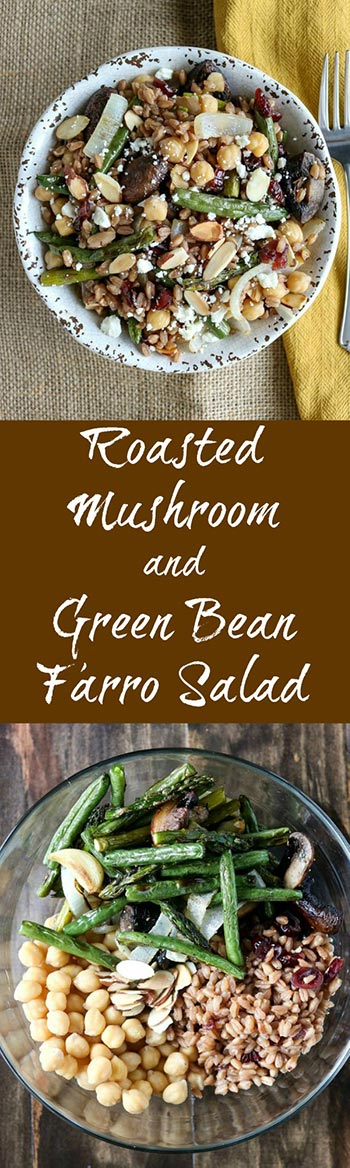 Roasted Mushroom and Green Bean Farro Salad is a wonderfully hearty, healthy and savory dish. Roast your favorite vegetables, combine with farro and chickpeas, and finish with a drizzle of delicious balsamic vinegar #roastedvegetables #chickpeas #driedcranberries #farro #balsamicvinegar #grains #healthygrains #vegetarian #karylskulinarykrusade