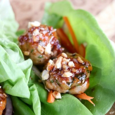Thai Chicken Meatball Lettuce Cups