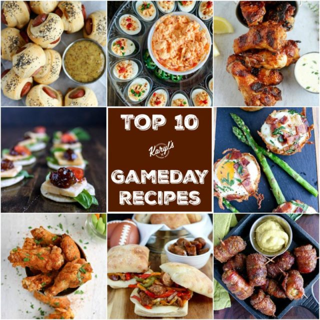 My Top 10 Gameday Recipes. All of these recipes will make you the star of your gameday tailgate or game watch party! All recipes are easy to make #gamedayfood #tailgatefood #gamedayrecipes #appetizers #fingerfood #partyfood #karylskulinarykrusade