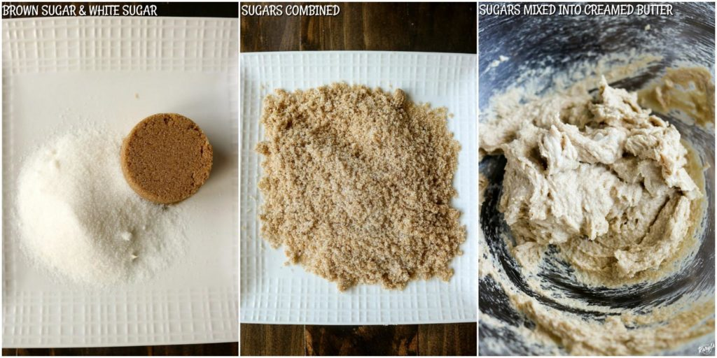 overhead process shots: granulated sugar and brown sugar separate; sugars combined; sugars mixed into butter